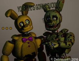 Springtrap Warns Himself From the Past by Delirious411