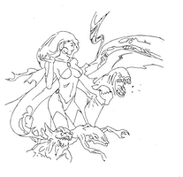 Goblin queen drawing (Vector lines) by electronicdave