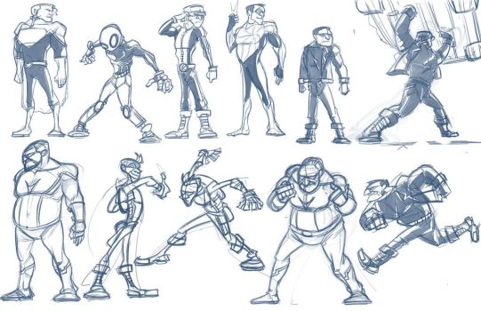 Dan Doodles-Superheroes. by SkipperWing
