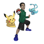 Commission - Pokemon Trainer + Pikachu and Manaphy by seto