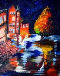 Wet Night Oil And Acrylic by TravelingArtist93