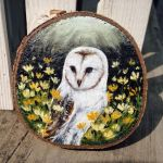 Owl - Wood Slice Acrylic Painting by devilguineapig
