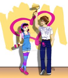Tabby and Kaiba - Painting Fun by kimechan