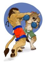 Lion vs Hyena by FerosBR