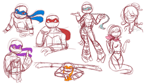 TMNT Doodles by goldenfluff