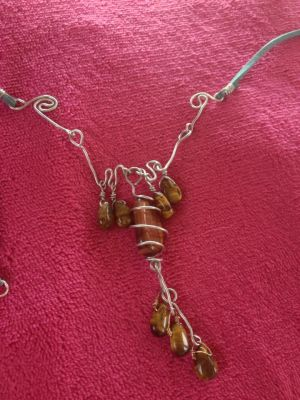 Tiger Eye and silver plated copper necklace. by psycopathdurham