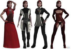 ME2-ME3 Jane Shepard Outfits (XPS) by SonYume
