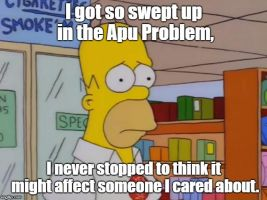 Homer upset about the Apu Problem by Montyclan