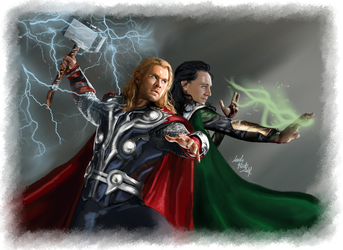 Thor Loki-Thunders and Spells by LadyMintLeaf