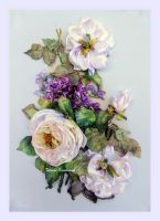 Ribbon embroidery,picture White roses and violet by TetianaKorobeinyk