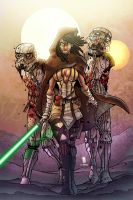 Jedi Michonne and her ST zombie pets by Dany-Morales