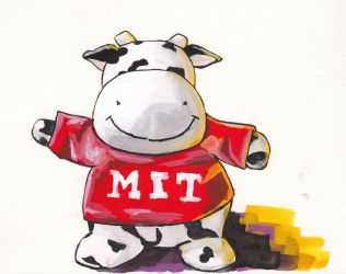MIT Super Happy Cow Gouache Painting by GiraffeMeow