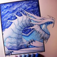 Snow Dragon Drawing by LethalChris