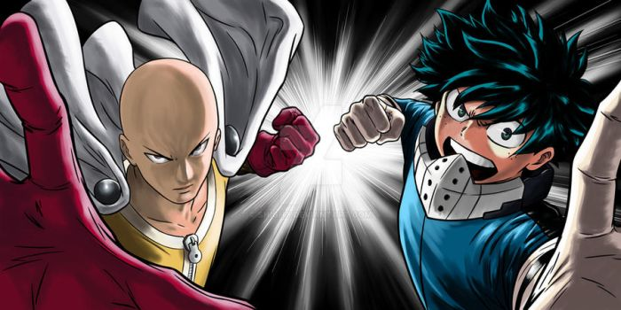 FANART COMPLETE COLOR - Saitama and Deku VS ...? by Shight