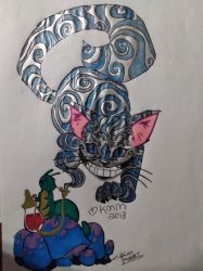 Colored Cheshire cat colored tattoos by kmorse21