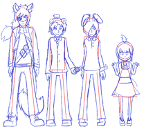 FNaF humanized full body ref things by Gameaddict1234