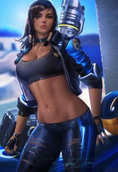 Pharah casual.nsfw optional. by sakimichan
