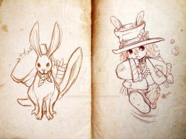 Mad Hatter Child and Hare by TheAncientMasteress
