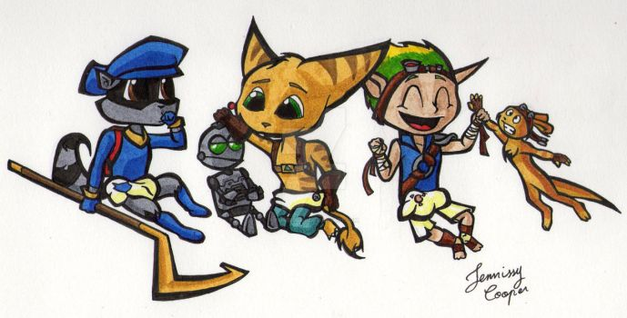 Babies Sly, Ratchet and Jak by EmilieSushi