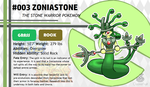 Pokemon Fate and Will Dex #003: Zoniastone by OzoneFruit