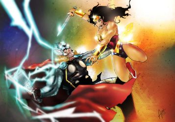 Thor Vs Wonder Woman by antmanx68