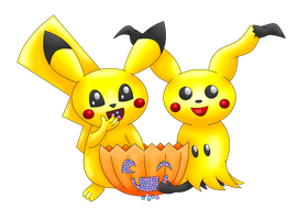 Pikachu Mimikyu Halloween transparent by MikariStar