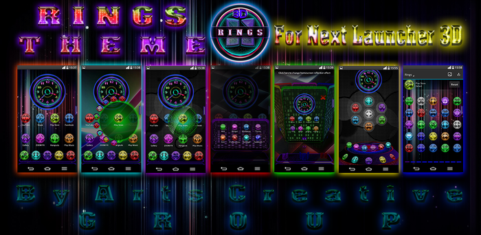 NEXT LAUNCHER 3D THEME Rings Multi (2Dn3D MODE) by ArtsCreativeGroup