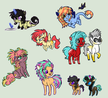 Some chibis of my ponies by XKSilver