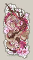 Wild Sakura Dragon Stickers by The-SixthLeafClover