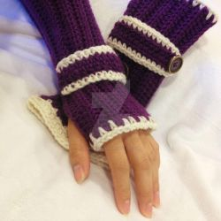 Fingerless purple gloves by Dragon620026