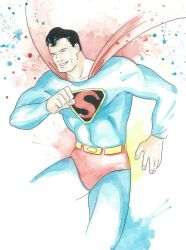 Golden Age Superman Watercolor by JAWart728