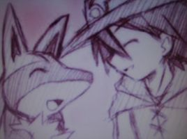 Lucario and Ash by lucarioriolu