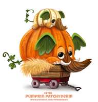 Daily Paint 2148. Pumpkin Patchyderm by Cryptid-Creations
