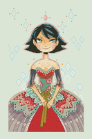 Red Dressed Girl Xstitch Pattern (MaxyVert) by pinkythepink