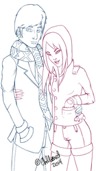 Adorable John And Tyuki Lineart/WIP by ChellizardDraws