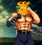 Endeavor (boku no hero Academia) topless / Bara by blueglueclue