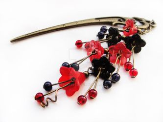 FOR SALE Hairstick with red n black lucite flowers by Benia1991