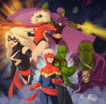 Captain Marvel and Drax the Destroyer by nuriaabajo