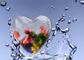 Windows7 Glass Heart splashed by AbhishekGhosh
