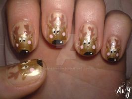 Reindeer Nail Design by AnyRainbow