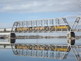Union Pacific Trio on Snake River Bridge by Mellette