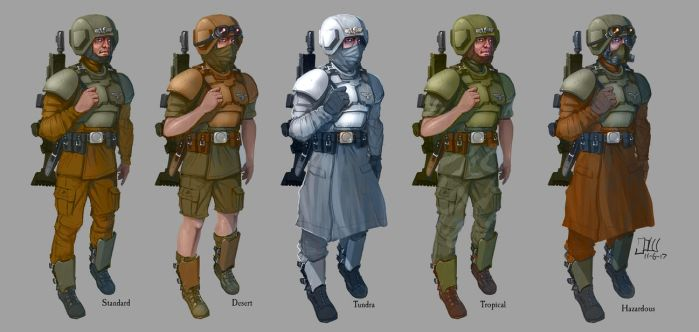 Cadian Guardsmen variants by Henskelion