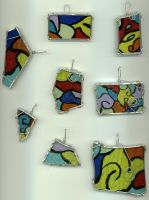 Painted Glass Pendants by wiyaneth