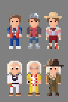Back to the Future Characters 8 bit by LustriousCharming