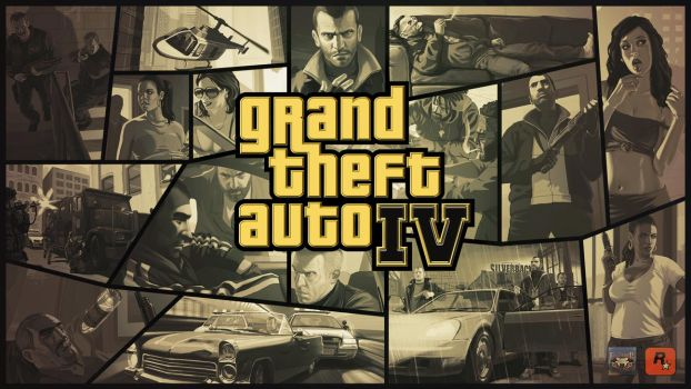 Grand Theft Auto IV Gold Logo Wallpaper by eduard2009