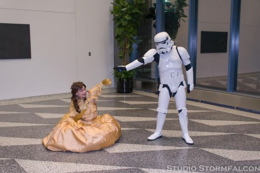Belle Threatened by a Stormtrooper by Stormfalcon