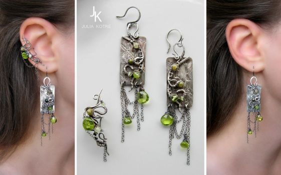 Silver earrings and ear cuff Rain In Bamboo Grove by JuliaKotreJewelry