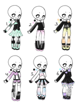 Open - Adopt Batch 26 - Pastel Goth by Adopts-and-Designs