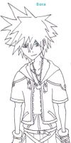 Sora lineart by RoxasNaruLuver