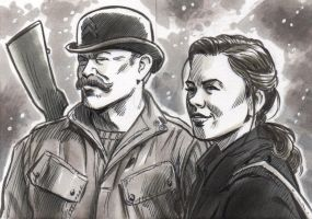 Agent Carter and Dum Dum Dugan Sketch Cards by timshinn73